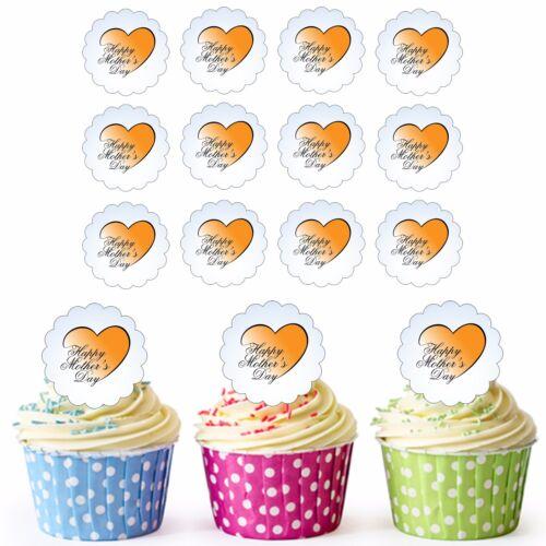 Happy Mother/'s Day 24 Pre-Cut Edible Scallop Cupcake Toppers Mum Nan Grandma