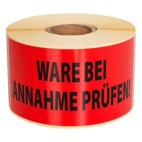 Warnetiketten 140x70 WARE BEI ANNAHME PRÜFEN 500 Stck