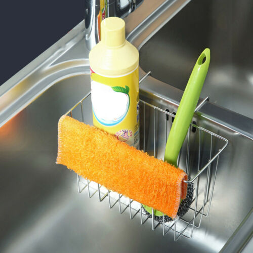 Edelstahl-Küchen-Schwamm-Halter-Wanne Caddy-Bürste Drainer Rack-Werkzeug