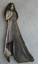 Gothic Ghost Girl Brooch or Scarf Pin Wood Black & White Accessories NEW Fashion