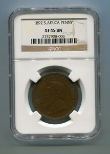 1892-South-Africa-Zuid-Afrika-Kruger-Penny-NGC-XF45BN-Scarce-Coin