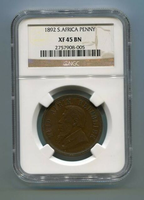 1892 South Africa Zuid Afrika Kruger Penny NGC XF45BN Scarce Coin