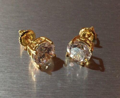 Mens Ladies 3.87 ct Lab Diamond 18K Gold Filled Screw Back Stud Earrings 10mm