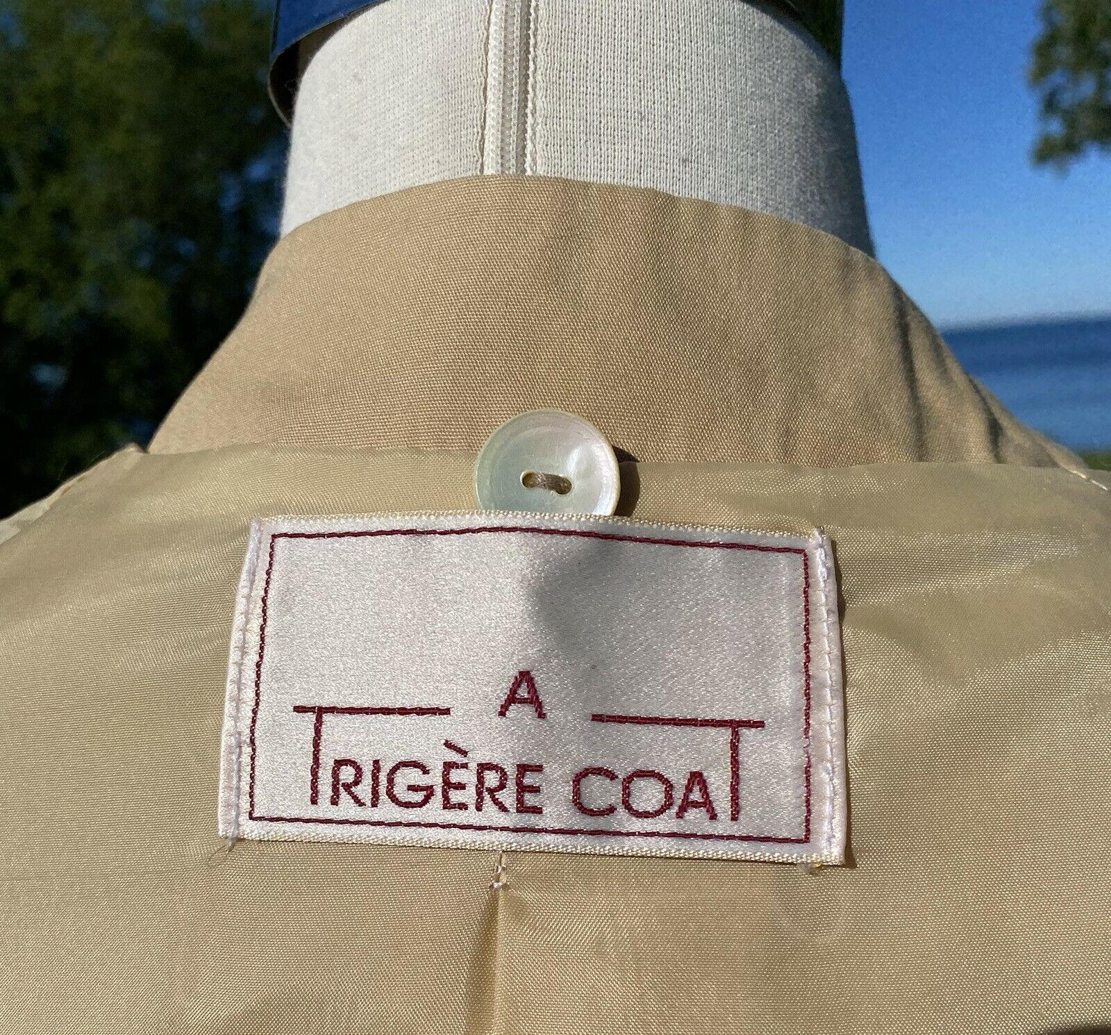 Vtg Pauline Trigere Designer Trench Coat Tan Cott… - image 8