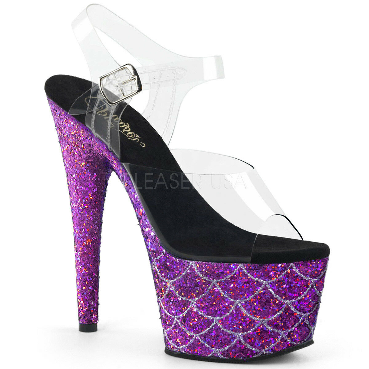 PLEASER 7  Heel Purple Glitter Mermaid Platform Ankle Strap Stripper shoes