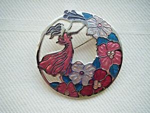 Vintage-esmalte-flor-figural-perforado-Broche-Pin-sea-Gems