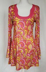 Vintage-Mod-Gogo-Pink-Orange-Bell-Sleeve-Dress-Large