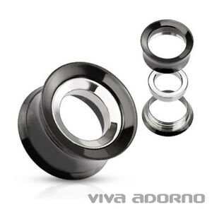 8-16mm-ACERO-inox-Flesh-Tunnel-PLUG-roscado-INTERIOR-Piercing-Oreja-Plata-Z272