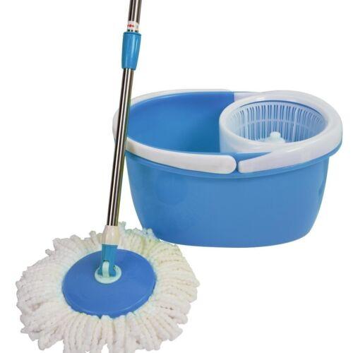 Easy Magic Floor Mop 360° Rotating Head Bucket 2 Heads Microfiber Spin US Ship