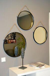 Wandspiegel Spiegel Badspiegel Rund Metall Industrie O40 O 50 Cm