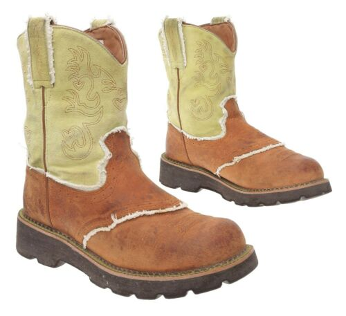 ARIAT FATBABY Cowboy Boots 8.5 B Womens White Leat
