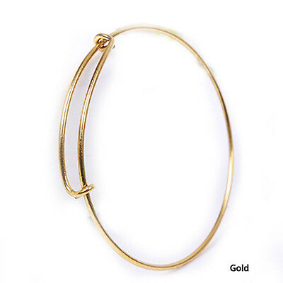 Expandable Wire Bangle Bracelet Adjustable Gold Silver Tone New Free Shipping