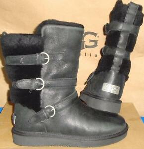 26b286fd8c2 Details about UGG Australia Women BECKET Black Leather Sheepskin Boots Size  US 7 NEW #1005380