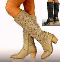 WOMENS KNEE HIGH BOOTS COWBOY SUMMER BLOCK ZIP SHOES CUT OUT 3 4 5 6 7 8 303
