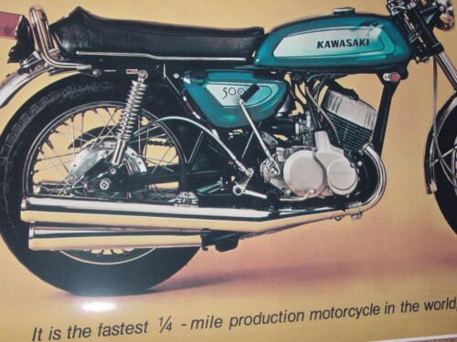 1971 KAWASAKI H1 MACH III 500 VINTAGE MOTORCYCLE POSTER PRINT 36x50 9MIL PAPER