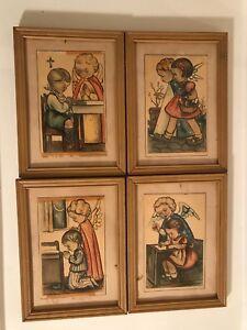 Vtg-Lot-of-4-Framed-Greeting-Post-Card-Stunning-Angel-Child-Schouten-Christmas