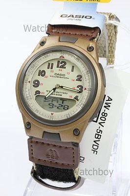 AW-80V-5B Casio Watch 10-Year Battery 50m Analog Digital Nylon Cloth Band Men's