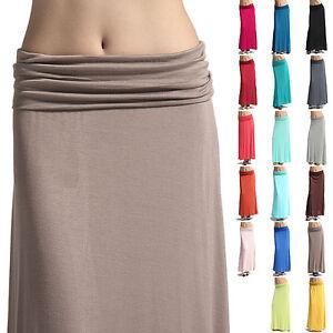 MOGAN-Colored-Plain-Draped-JERSEY-MAXI-LONG-SKIRT-Sleek-Compy-Casual-Evening-NEW