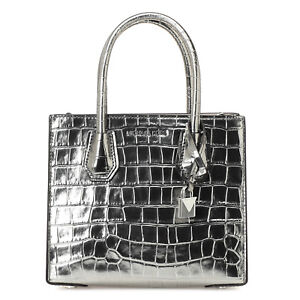 e1e356dfe1c8 Image is loading Michael-Kors-Mercer-Studio-Messenger-Tot-Gunmetal-Embossed-