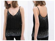 ZARA BLACK PATTERNED SEQUIN TOP BLOUSE SIZE M