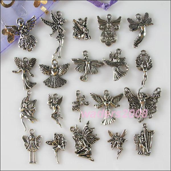 20Pcs Mixed Lots of Tibetan Silver Tone Angel Fairy Charms Pendants