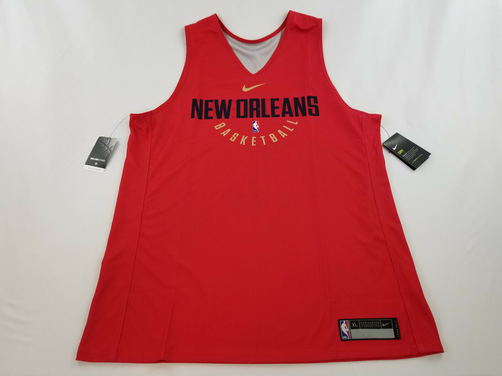 New NIKE men shirt jersey NEW ORLEANS NBA basketball Length+2 red XL MSRP