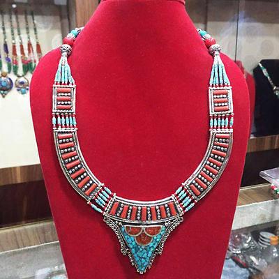 Princess Style Tribal Silver Turquoise & Coral Handmade Necklace