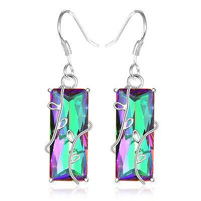 "Unique Charming Rainbow Fire Mystical Topaz Gems Silver Elegant Earrings 1 3/4 """