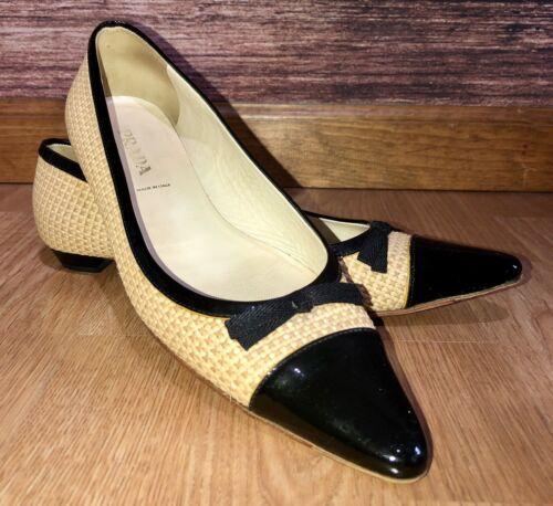Prada Pointed Toe Straw Weave Flats 8.5 US 38.5 EU