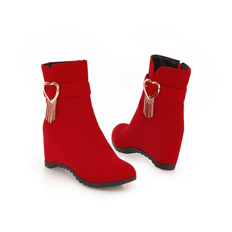 Womens Hidden Wedge Heel Short Boots Plus Size Booties Fashion Round Toe shoes