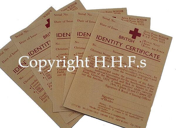 1940's-WW2-Blitz wartime memory REPLICA Red Cross Service Medical Card SET OF 5