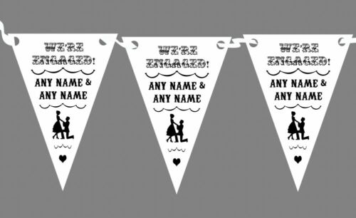 Vintage Text Engagement White And Black Personalised Engagement Party Bunting