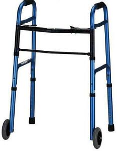 Adult-Folding-Walker-5-034-Wheels-amp-or-Straight-Legs-Adj-Height-Blue-Up-to-350-lbs