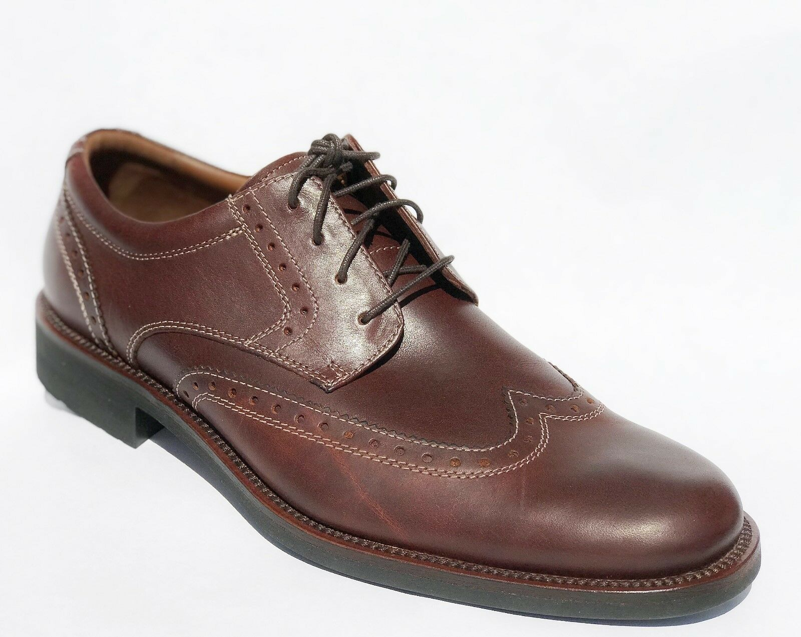 Johnston Murphy Vester Wing Tip Mahogany Pelle Dress Casual Shoes 9 NEW IN BOX