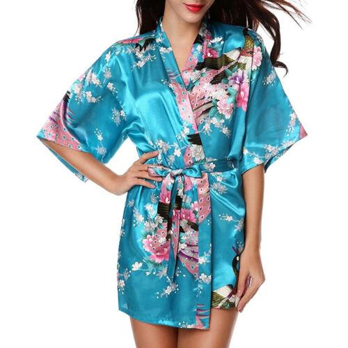 Damen Sommer Seide Satin Negligee Kimono Morgenmantel Nachtwäsche Bademantel 38