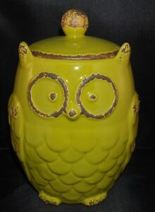 Owl-Canister-Jar-Green-Rustic-Aged-Kitchen-Home-Decor