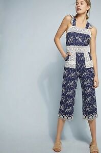 7af640c7c73 Image is loading NEW-395-Nightcap-Clothing-Blue-Embroidered-Eyelet-Overalls-