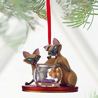 Disney Store Si & Am Sketchbook Ornament - Lady And The Tramp - Fish Bowl - Cats