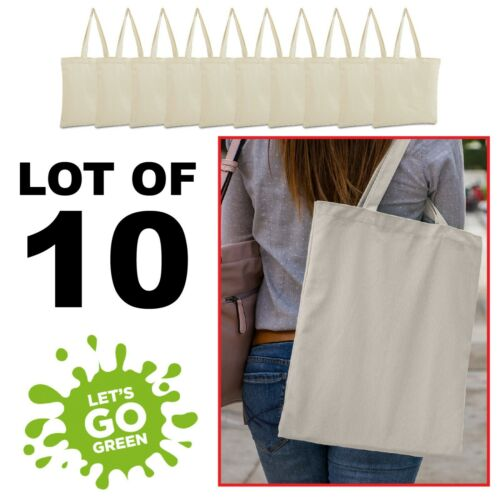 Reusable Grocery LB8502 Beach Totes LOT of 10 Canvas  bag  shopping Tote Bag