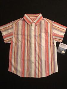 NWT-Izod-Boys-X-tra-Easy-Stain-Repel-Striped-Button-Dress-SS-Shirt-Size-S-4