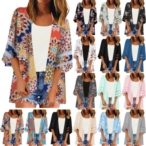 Women Mesh Panel Boho Beach Cover Up Lace Floral Cardigan Kimono Chiffon Blouse