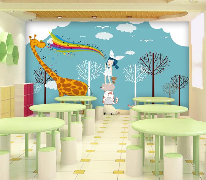 3D Giraffe Kind Kind Kind Karikatur 85 Tapete Wandgemälde Tapeten Bild Familie DE Summer 8e7fd7