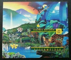[SJ] United Nations Rainforest 1998 Leopard Big Cat Wildlife Orchid Bird (ms MNH