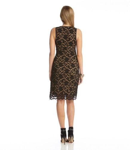 Karen Kane 3L36538 Black//Nude V-Neck Slvls Scalloped Stretch Lace Dress $118