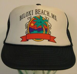 Vintage-1980s-1990s-Biloxi-Beach-Mississippi-Graphic-SNAPBACK-TRUCKER-HAT-CAP