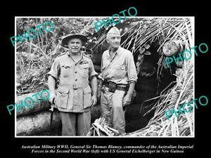 OLD-LARGE-HISTORIC-PHOTO-AUSTRALIAN-MILITARY-WWII-GEN-THOMAS-BLAMEY-IN-PNG-c1945