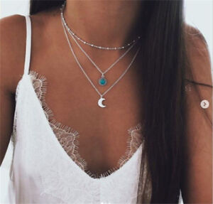 Boho-Multilayer-Choker-Necklace-Turquoise-Moon-Chain-Silver-Women-Summer-Jewelry