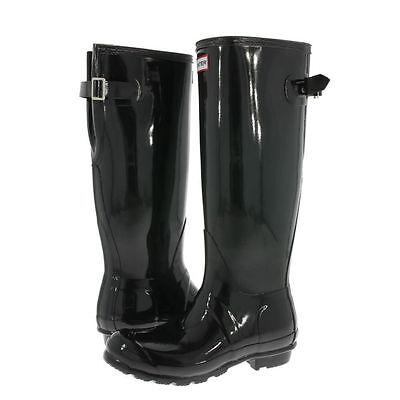 NEW- HUNTER ORIGINAL Women's BACK ADJUSTABLE GLOSS Black RAIN BOOTS Size: 5-10