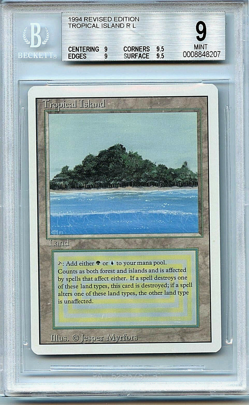MTG Revised Dual Land Tropical Island BGS 9.0 (9) (9) (9) Card Magic WOTC 8207 b1ed5a