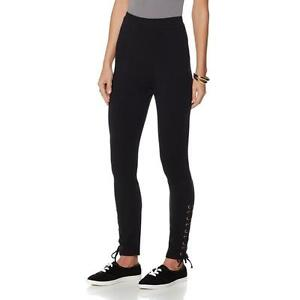Wendy-Williams-Women-039-s-Ankle-Laced-Full-Elastic-Knit-Leggings-Black-XS-Size-HSN